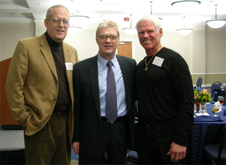 Donald E. McGlothlin, Sir Ken Robinson, and Hal Stowers enjoy camaraderie at UF… celebrating creativity…